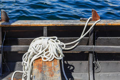 White Rope in Metal Boat Stock Photo