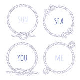 White rope round vector design frame set Royalty Free Stock Photo