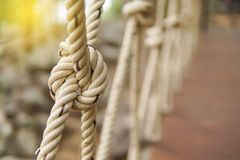 White rope tied in a knot for adventure. Close-up of rope knot line tied together. With bridge background Royalty Free Stock Photo
