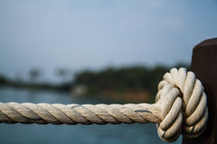White rope tied into a knot. Stock Photo