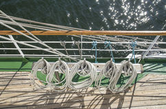 White ropes in sailing ship royalty free stock image