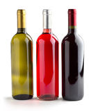 White, rosè and red wine Royalty Free Stock Images