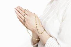 White rosary Stock Photo