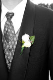 White rose. Corsage on the grooms tux Royalty Free Stock Photos