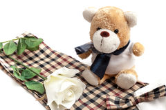 White rose and bear doll put on the chess style fabric Royalty Free Stock Photography