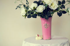 White Rose. A bouquet of white roses in a vase royalty free stock photo