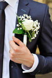 White rose boutonniere Royalty Free Stock Images