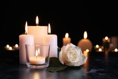 White rose and burning candles on table in darkness. Funeral symbol royalty free stock images