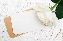 White rose with card Royalty Free Stock Photos