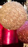 White and rose Christmas holiday lamps. In a mall, europe Stock Photography