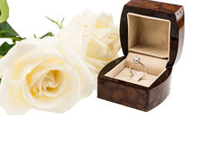 White Rose with diamond ring in the box  isolated on white backg Stock Images