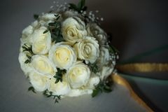 White rose flower bouquet in bundle shape for bridal in wedding. Ceremony Royalty Free Stock Photos
