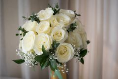 White rose flower bouquet in bundle shape for bridal in wedding. Ceremony Royalty Free Stock Image