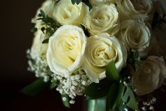 White rose flower bouquet in bundle shape for bridal in wedding. Ceremony Stock Photography