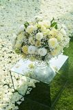 White rose flower bouquet in bundle shape for bridal in wedding. Ceremony Royalty Free Stock Photography