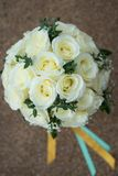 White rose flower bouquet in bundle shape for bridal in wedding. Ceremony Stock Image