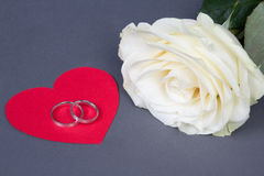 White rose flower and wedding rings on red heart over grey Stock Photography