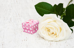 White rose and gift box Royalty Free Stock Photography