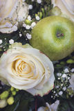 White rose and green apple Stock Photography