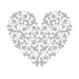 White rose heart. White rose in heart shape vector illustration