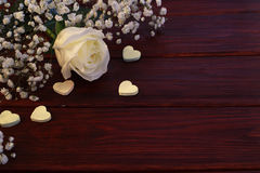 White rose and hearts Stock Photos