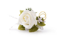White rose lapel decoration royalty free stock images