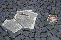 White Rose Memorial Leaflets at University in Munich, Germany, Royalty Free Stock Photo