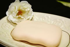 White rose next to soap. stock images
