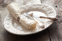 White rose patterned table setting Royalty Free Stock Image