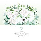 White rose, ranunculus, hydrangea, anemone, eucalyptus, greenery Stock Image