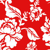 White rose on red background traditional Russian ornament  Stock Image