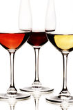 White, rose and red wine Royalty Free Stock Images