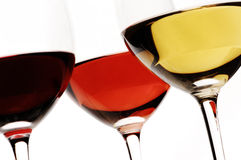 White, rose and red wine Royalty Free Stock Photos