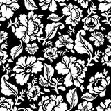 White Rose seamless pattern. Retro floral texture. Vintage Flora ornaments. Floral background. White flowers on dark backdrop.Traditional Russian ornament royalty free illustration
