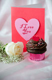 White rose, Valentine with chocolate frosted cupcake. A white rose, valentine and a chocolate frosted cupcake withe candy hearts is ready for your sweetest Royalty Free Stock Photos
