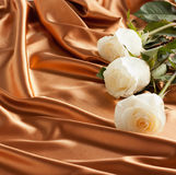 White rose on the waves of golden satin. Background, invitation. Holiday Cards Stock Photography