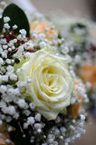White rose of the wedding candles for the church ceremony Royalty Free Stock Image