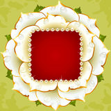 White rose wedding frame with pearl Royalty Free Stock Image