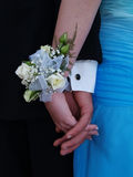 White Rose Wrist Corsage. With white ribbon and babies breath Stock Image