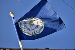 White rose of Yorkshire flag. stock images