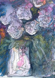White roses abstract watercolor and ink painting Stock Image