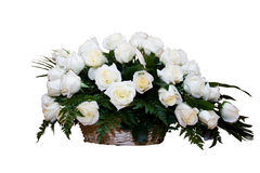 White Roses in Basket Stock Photography