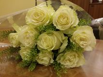 White roses in beautiful bouqette Royalty Free Stock Images