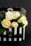 White roses on black Royalty Free Stock Images