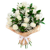 White roses bouquet isolated Stock Photo