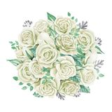 White roses bouquet. Watercolor illustration. Cute vintage style wreath, border, frame. Wedding invitation card element. Greeting card design. Cute symbol Royalty Free Stock Photography