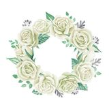 White roses bouquet. Watercolor illustration. Cute vintage style wreath, border, frame. Wedding invitation card element. Greeting card design. Cute symbol Stock Image