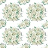 White roses bouquets. Watercolor illustration. Seamless pattern design paper. Floral seamless pattern. Watercolor illustration. Spring symbol. First flowers Royalty Free Stock Photos