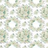 White roses bouquets. Watercolor illustration. Seamless pattern design paper. Floral seamless pattern. Watercolor illustration. Spring symbol. First flowers Stock Photos
