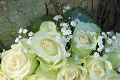 White roses in bridal bouquet. White roses in a bridal bouquet Stock Photography